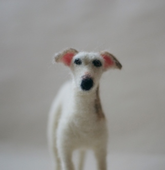Logan the needle felted dog face