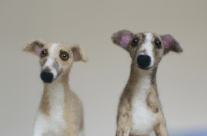 two needle felted whippets