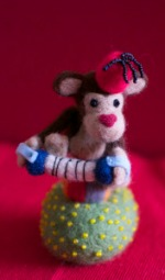 needle felted circus monkey Simon