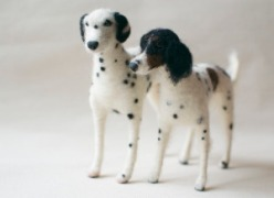 two needle felted dogs