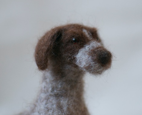 Needle felted dog head