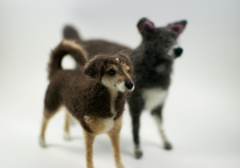 Dolly and Juca, the two needle felted dogs