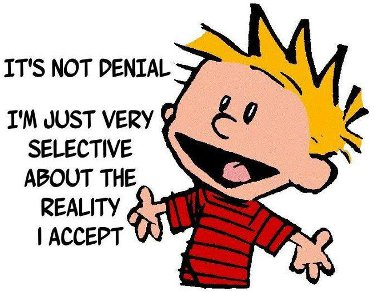 Calvin saying It's not denial, I'm just very selective about the reality I accept