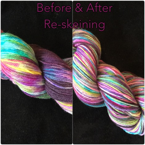 before and after image of skein