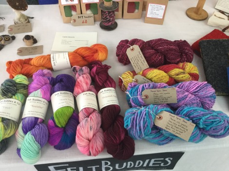 Hand spun and hand dyed yarns in my stall