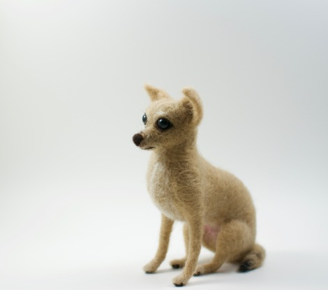 needle felted Chihuahua staring left