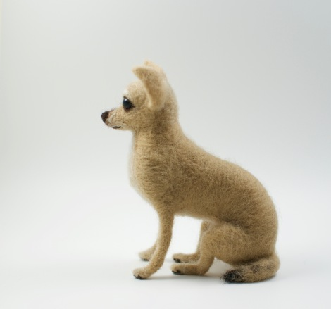 needle felted Chihuahua side view