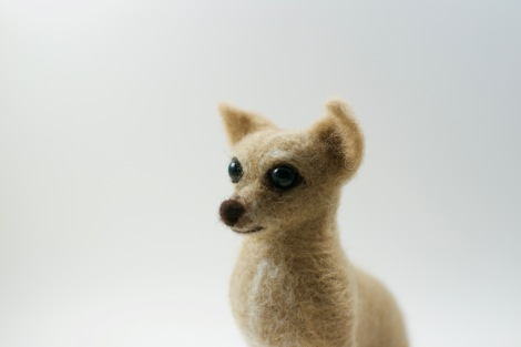 close-up of needle felted Chihuahua's face