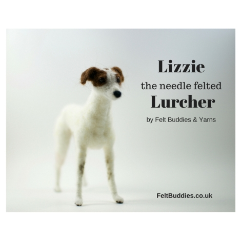 Lizzie the Lurcher needle felted by Felt Buddies & Yarns